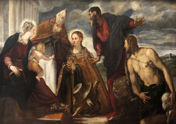 Tintoretto, Jacopo Robusti: Virgin and Child, with St Catherine, St Augustine, St Marc and St John. Art Print/Poster. Sizes: A4/A3/A2/A1 (001993)